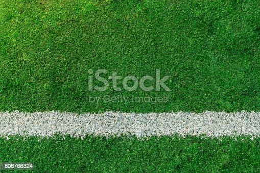 istock Soccer or Football feild with white line 806766324