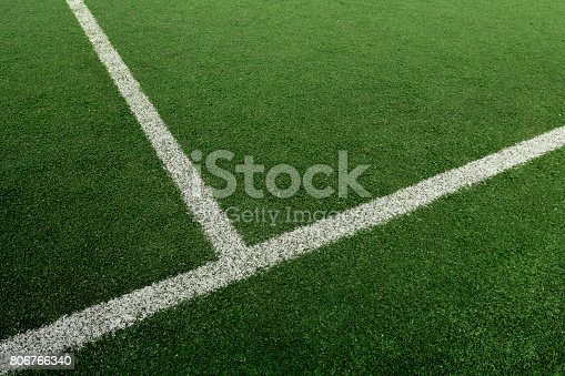 istock Soccer or Football feild with white line 806766340