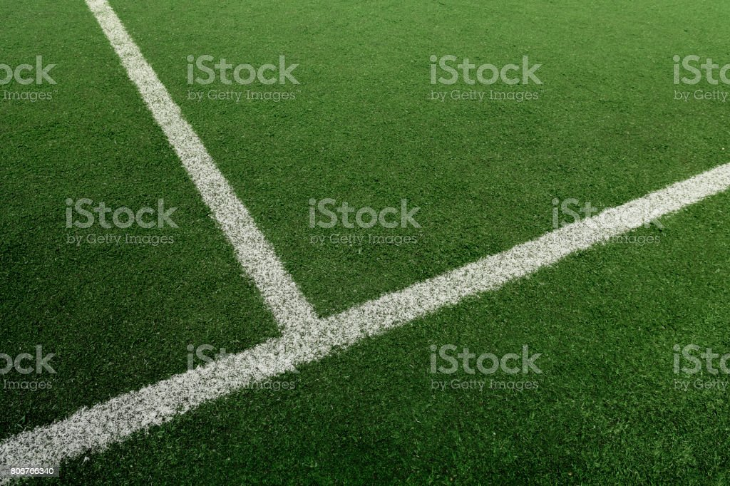 Soccer or Football feild with white line stock photo
