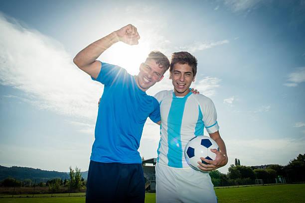 Fußball oder Fußball-Spieler im Stadion Feiern Ziel – Foto
