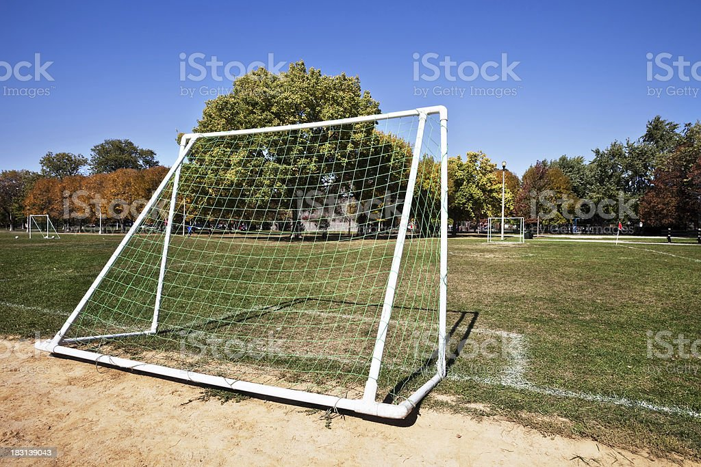 Soccer pitch at Merrimac Park in Dunning, Chicago royalty-free stock photo