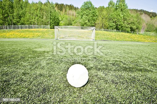 637297180 istock photo Soccer Pitch - Ball On Penalty Sport 969766408