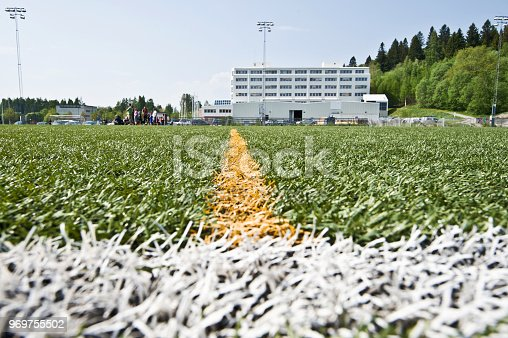 637297180 istock photo Soccer Pitch Markings - Centre Line 969755502