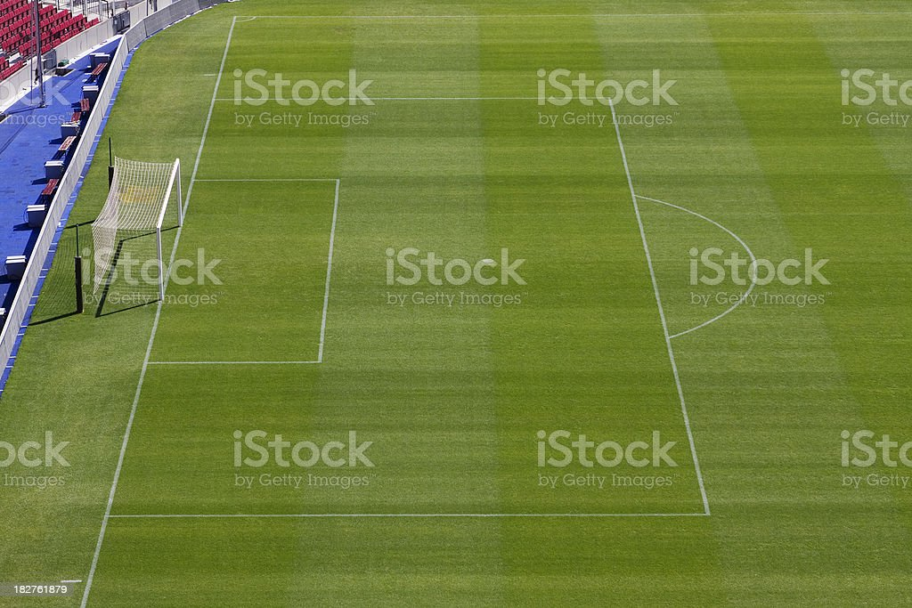 Soccer pitch, penalty area and goalposts stock photo