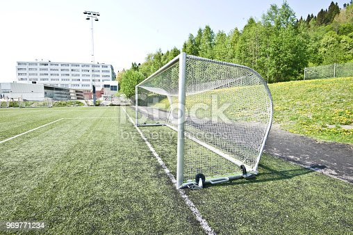 637297180 istock photo Soccer Pitch Penalty Area - Six-Yard Area, Goal Post, Net And Goal Line 969771234