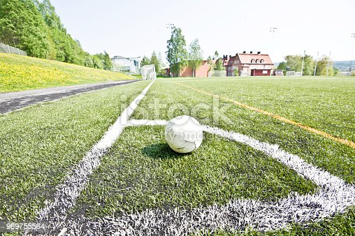 637297180 istock photo Soccer Pitch - Soccer Ball On Corner Area Arc 969755564