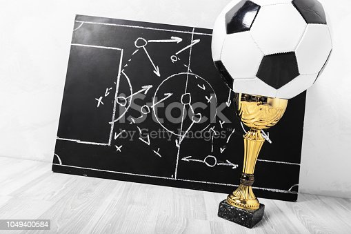 1143277606istockphoto Soccer plan chalk board with formation tactic 1049400584