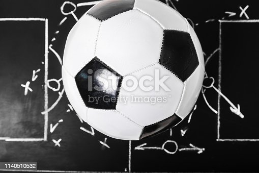 istock Soccer plan chalk board with formation tactic 1140510532