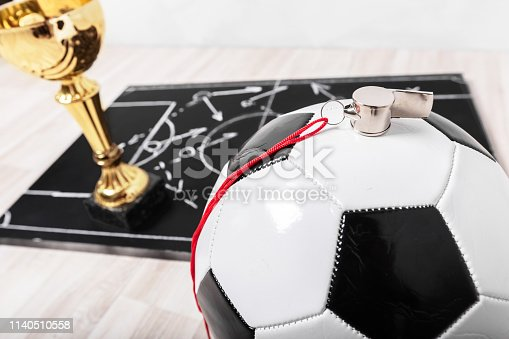 1143277606istockphoto Soccer plan chalk board with formation tactic 1140510558