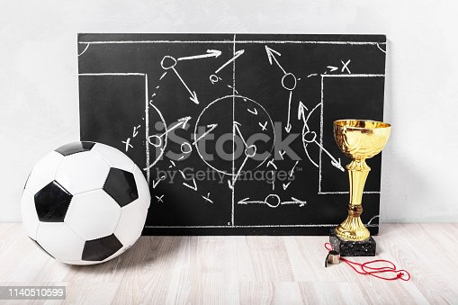 istock Soccer plan chalk board with formation tactic 1140510599