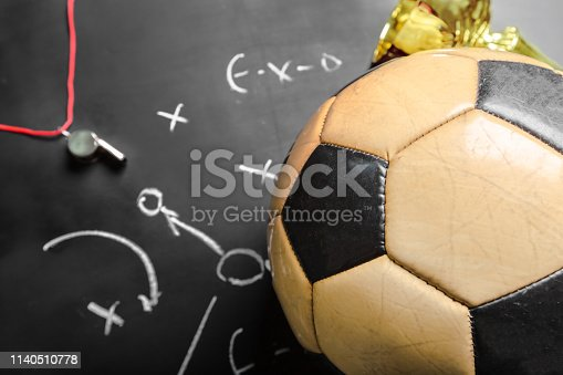 istock Soccer plan chalk board with formation tactic 1140510778