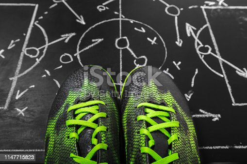 istock Soccer plan chalk board with formation tactic 1147715823