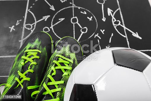 1143277606istockphoto Soccer plan chalk board with formation tactic 1154041048