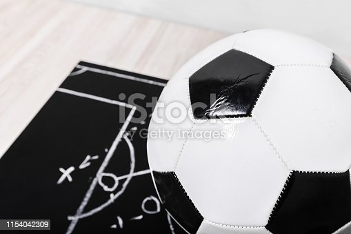 1143277606istockphoto Soccer plan chalk board with formation tactic 1154042309