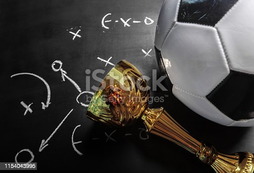 1143277606istockphoto Soccer plan chalk board with formation tactic 1154043995