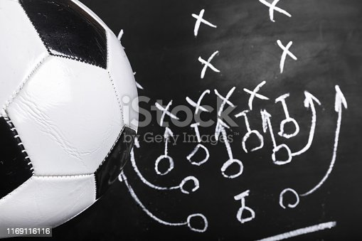1143277606istockphoto Soccer plan chalk board with formation tactic 1169116116