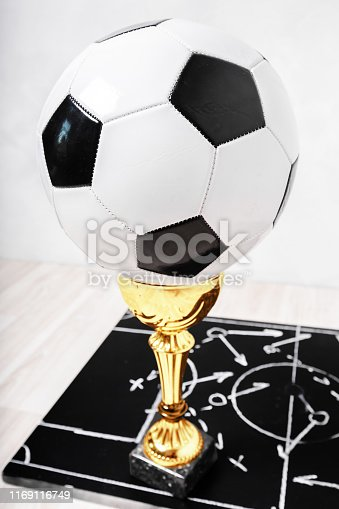 1143277606istockphoto Soccer plan chalk board with formation tactic 1169116749