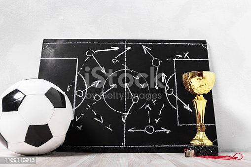 1143277606istockphoto Soccer plan chalk board with formation tactic 1169116913