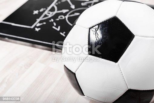 1143277606istockphoto Soccer plan chalk board with formation tactic 948443238