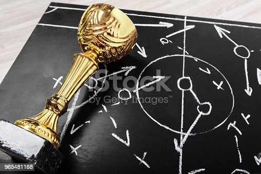 1143277606istockphoto Soccer plan chalk board with formation tactic 965481168