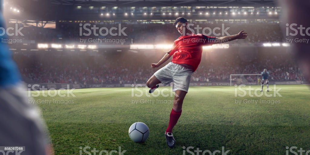 Soccer Player About To Take Free Kick During Football Game stock photo