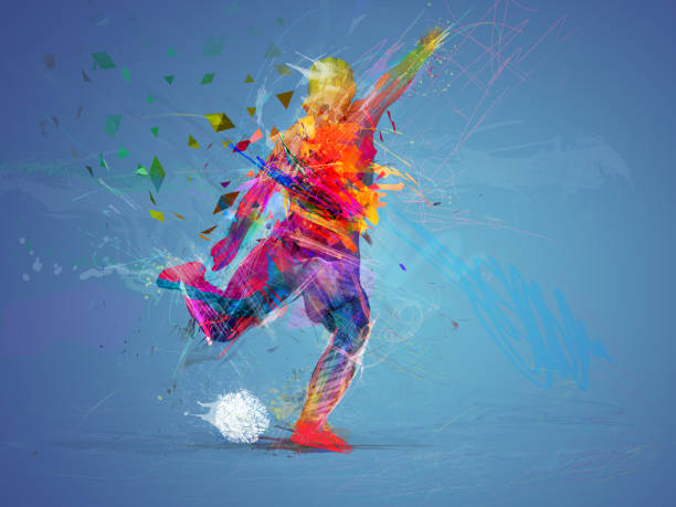 soccer player abstract concept stock photo