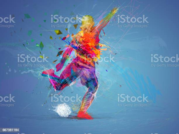 Photo of soccer player abstract concept