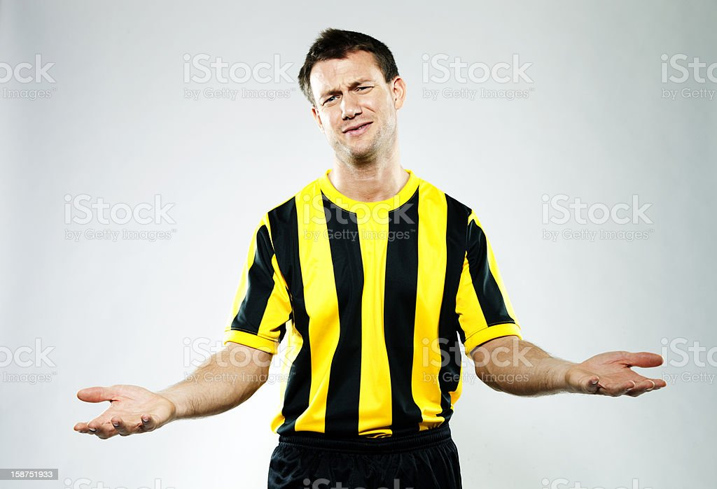 Soccer player appealing against a decision. royalty-free stock photo
