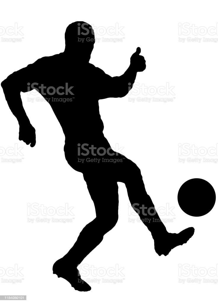 Fussballspieler Als Silhouette Isoliert Wahrend Der Schiessen