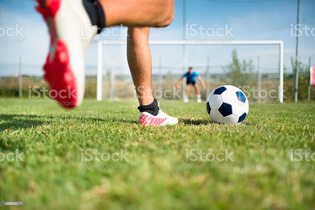 Soccer player at the penalty stock photo