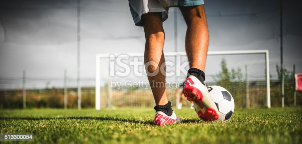 Soccer player at the penalty