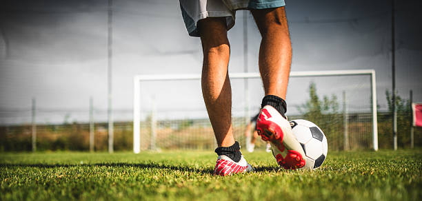 Soccer player at the penalty Soccer player at the penalty studded stock pictures, royalty-free photos & images