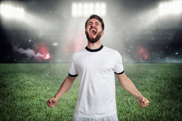 Soccer player celebrates his goal in a full soccer stadium stock photo