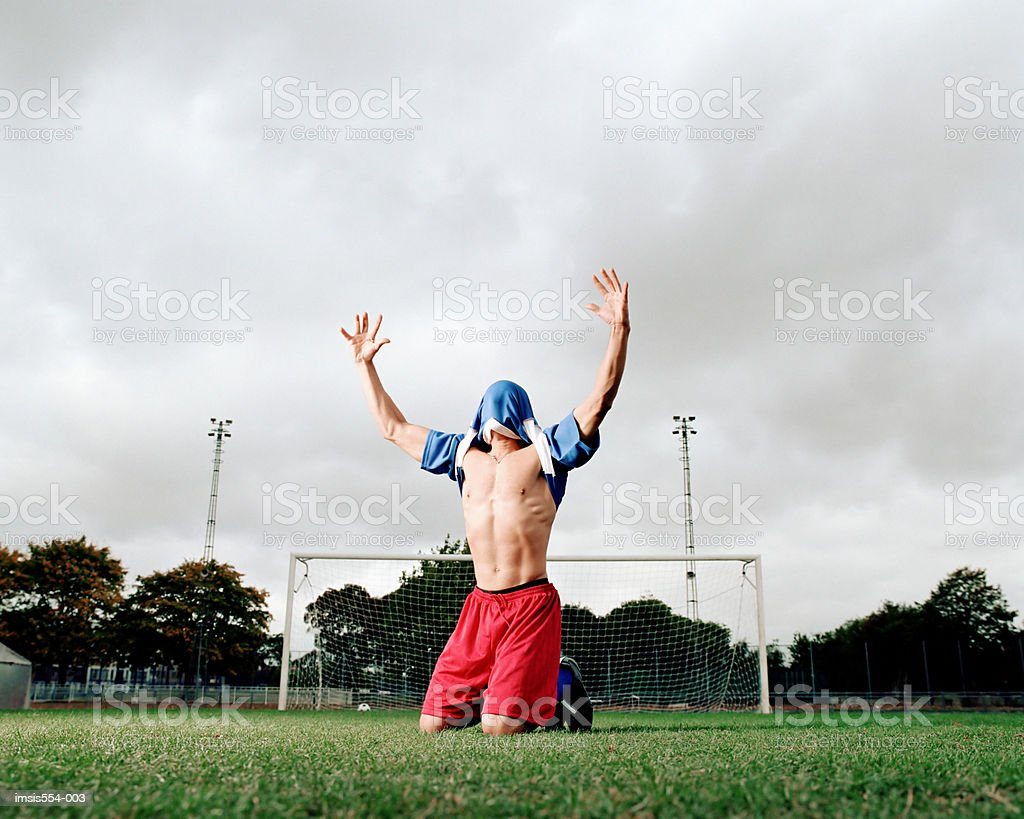 Soccer player celebrating foto royalty-free