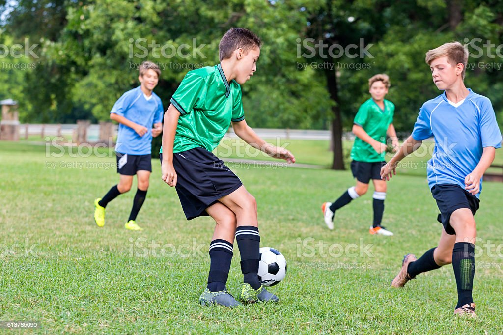 Soccer player concentrates during game stock photo