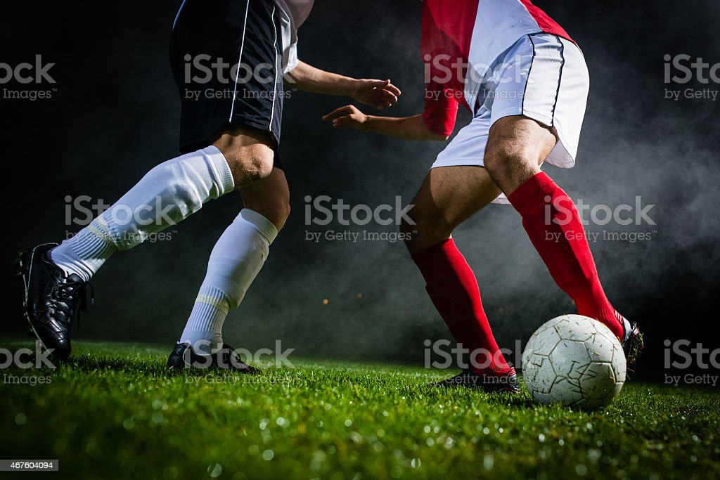 Soccer Player Dribbling A Ball stock photo