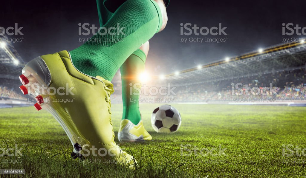 Soccer player in action. Mixed media - foto de stock