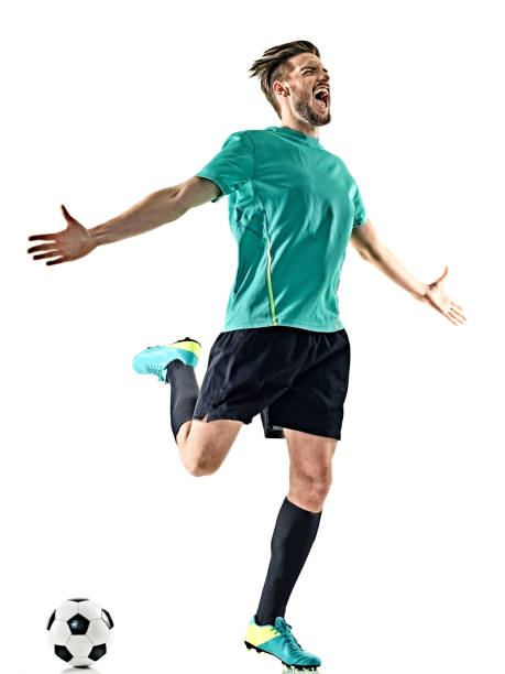 soccer player man happy celebration  isolated - soccer player stock photos and pictures
