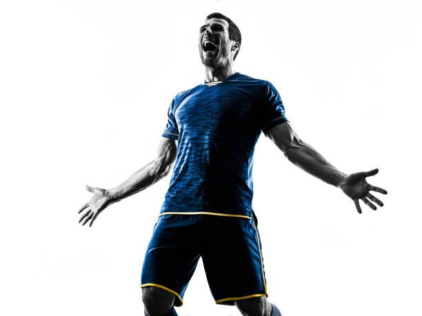 Fußballspieler Mann glücklich Feier Silhouette isoliert – Foto