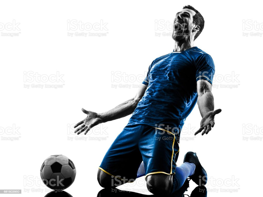 soccer player man happy celebration silhouette isolated stock photo
