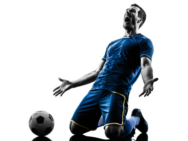 soccer player man happy celebration silhouette isolated - soccer player stock photos and pictures