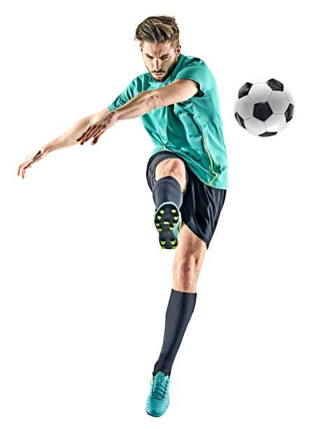 fußballspieler mann isoliert - französisch übungen stock-fotos und bilder