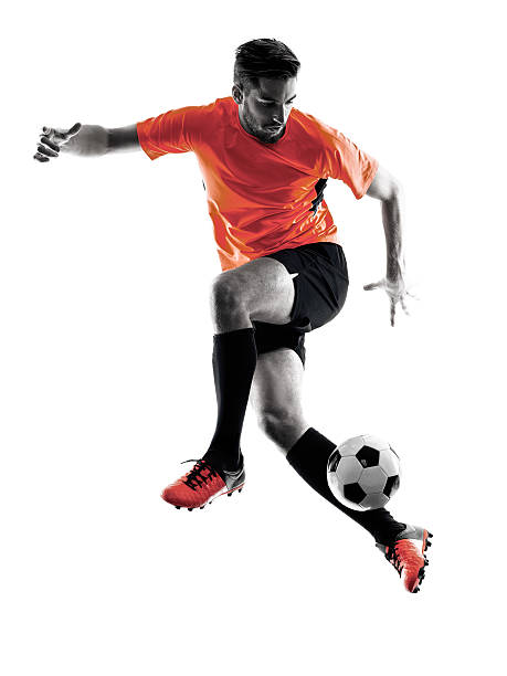 soccer player man isolated silhouette - soccer player stock photos and pictures