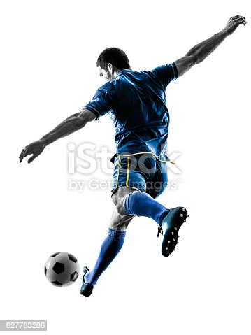istock soccer player man kicking silhouette isolated 827783286