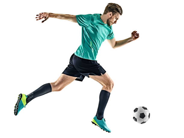 soccer player man running isolated - soccer player stock photos and pictures