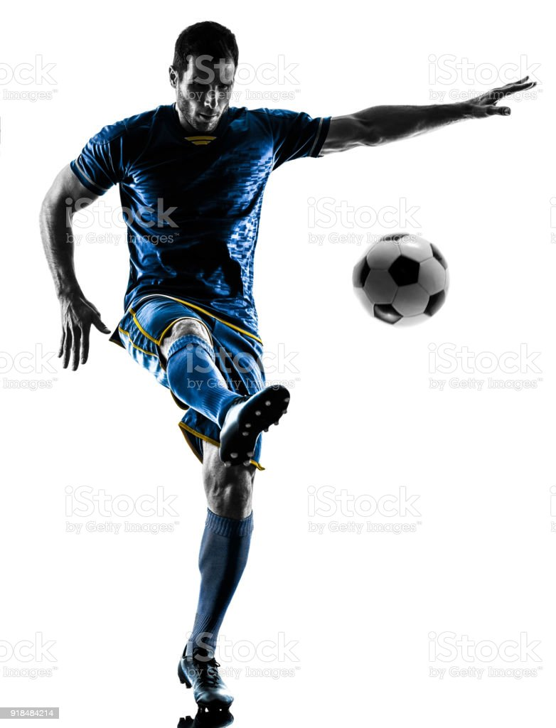 soccer player man silhouette isolated stock photo