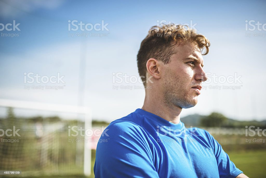 soccer player portrait looking away royalty-free stock photo