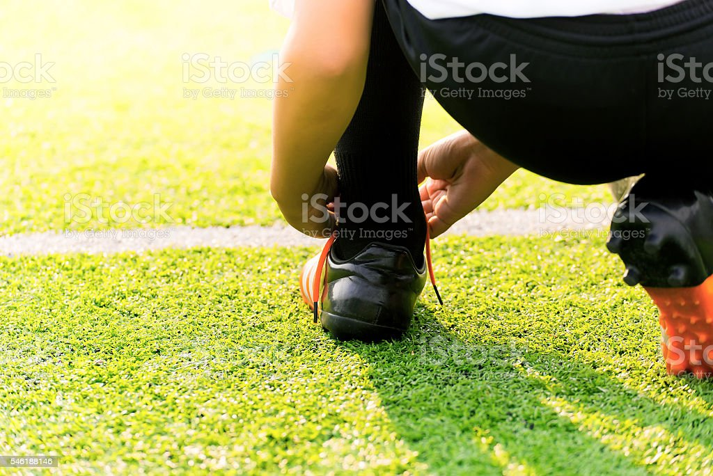 Soccer player ready to kick off the game stock photo