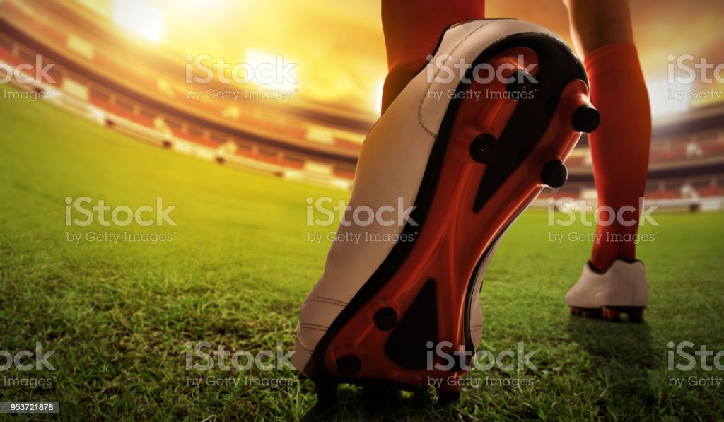 Soccer player shoes stock photo