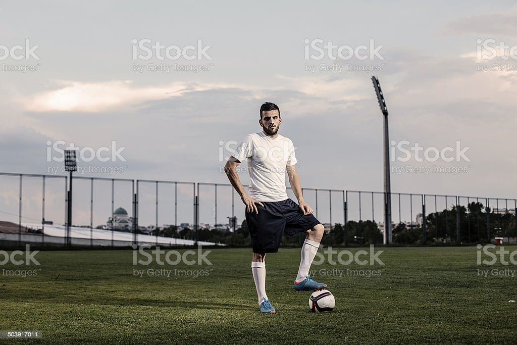 Soccer player stays on the ball royalty-free stock photo